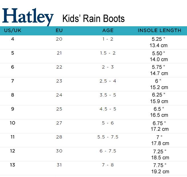 Hatley Rainboots Size Chart