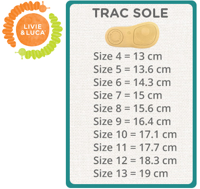 Livie & Luca Size Chart Trac Sole