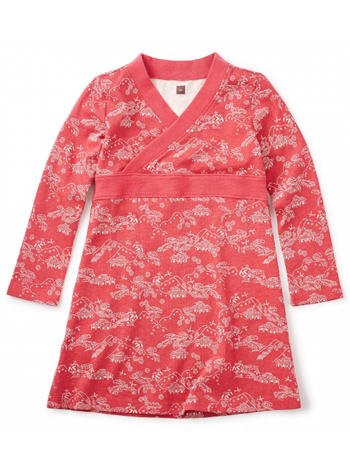 Tea Collection Bisuta wrap Neck Dress Cardinal (Girls)