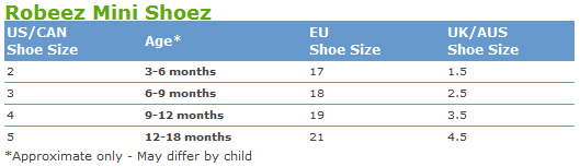 Click Here For A Printable Robeez Mini Shoez Size Chart You Can Place Your Child S Feet On