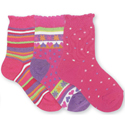 Country Kids 3 Pack Socks Hot Pink