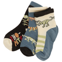 Hatley Blue Dinos Three-Pack Socks