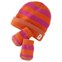 Smartwool Baby Stripe Hat and Mitt Set Peony