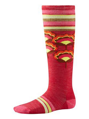 SmartWool Girls Peony Pop Knee High Persian Red Heather