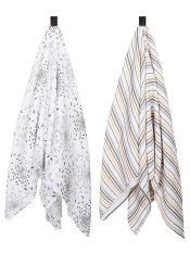 Bebe au Lait Muslin Swaddle Blanket 2 Pack Sparrow + Vintage Stripe