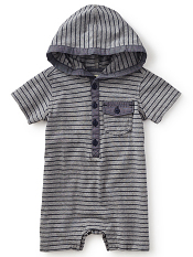 Tea Collection Hadrian's Villa Hooded Romper (Baby Boys)