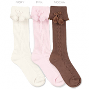 Country Kids Ribeed Pom Pom Knee Hi Sock Mocha