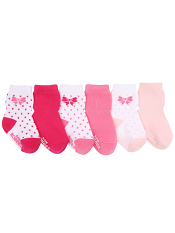 Robeez 6pk Socks Playful Pink
