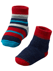 SmartWool Baby Bootie Batch Deep Navy Heather/Bright Red
