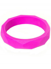 Itzy Ritzy Teething Happens Chewable Mom Jewelry Bangle Bracelet Hot Pink