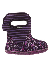 Baby Bogs Waterproof Boots Classic Flower Stripes Plum