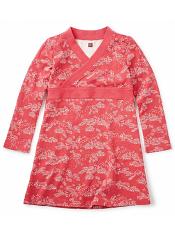Tea Collection Bisuta wrap Neck Dress Cardinal (Girls)