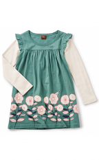 Tea Collection Midori Double Decker Dress Foliage (Girls)