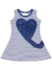 Nohi Kids Heart Swirl Dress Navy Stripe