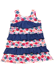 Nohi Kids Layered Ruffle Dress Umbrella Navy