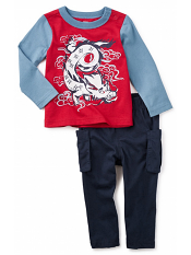 Tea Collection Tiny Tatsu Outfit (Baby Boys)