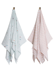 Bebe au Lait Muslin Swaddle Blanket 2 Pack Little Owl + Tinsley