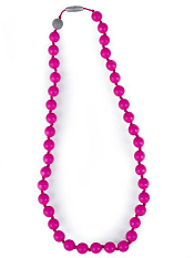 Itzy Ritzy Teething Happens Chewable Mom Jewelry Round Bead Necklace Hot Pink