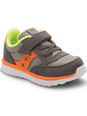 Saucony Baby Jazz Lite Grey/Orange/Citron (Toddler/Kids) (Wide)