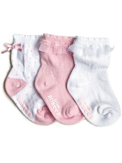 Robeez 3pk Socks Baby Girl Light Pink
