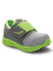 Saucony Baby Kineta AC Grey/Green (Toddler/Kids) (Wide)