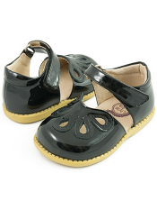Livie & Luca Petal Black Patent (Toddler/Kids)