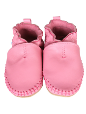 Robeez Premium Leather Classic Moccasin Pink (Soft Soles)