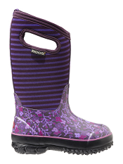 Bogs Kids' Insulated Boots Classic Flower Stripes Purple Multi