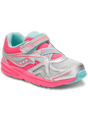 Saucony Baby Ride Silver/Coral (Toddler/Kids)