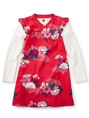 Tea Collection Kata Wrap Neck Dress (Girls)