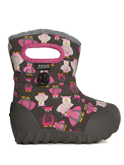 Baby Bogs Waterproof Boots B-Moc Puff Owls Dark Gray Multi