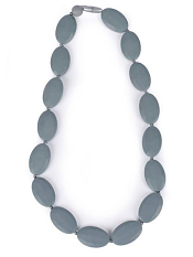Itzy Ritzy Teething Happens Chewable Mom Jewelry Pebble Bead Necklace Gray