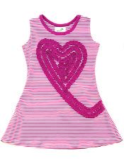 Nohi Kids Heart Swirl Dress Purple Stripe
