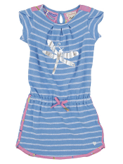 Hatley Petal Sleeve Dress Terry Blue Stirpes