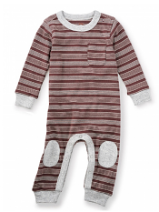 Tea Collection Yaku Kneepatch Romper Mole (Baby Boys)
