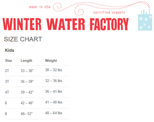 Winter Water Factory Kids Size Chart